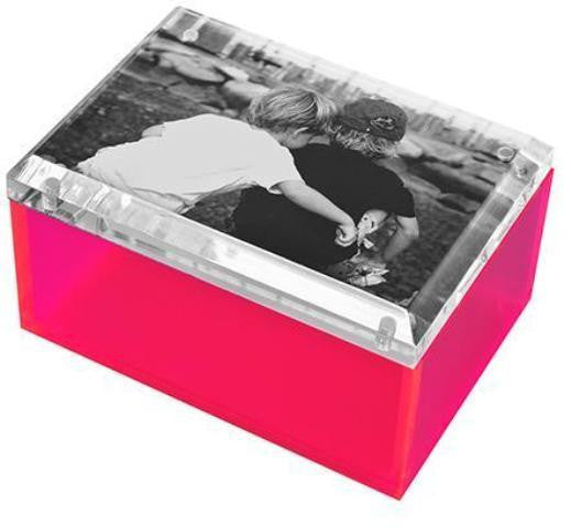 Photo Lucite Box, Neon Pink (Medium)