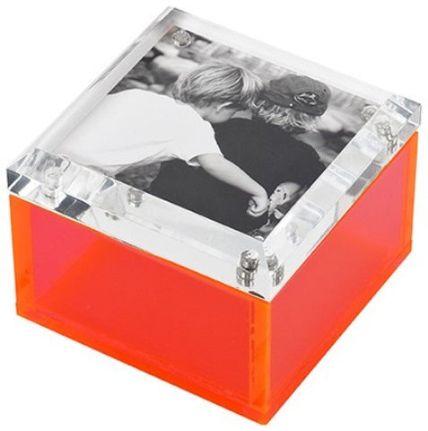 Photo Lucite Box, Neon Pink (Small)