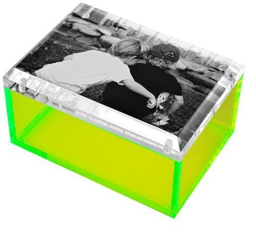 Photo Lucite Box, Neon Green (Medium)