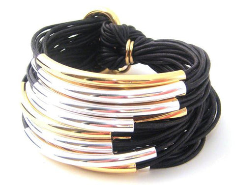 Gold & Silver Multi-Tube Bracelet, Black