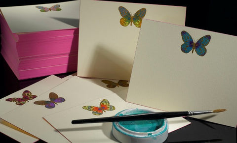 Hand Painted Butterfly Note Card Set