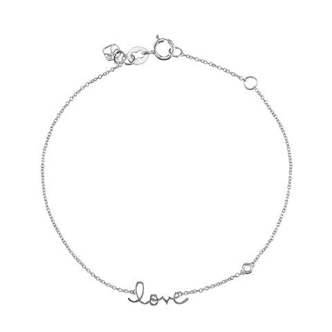 """Love"" Bracelet with Diamond Detail, White Rhodium Plated"