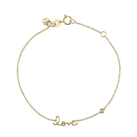 """Love"" Bracelet with Diamond Detail, Yellow-Gold Plated"