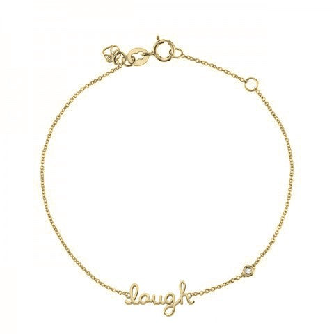 """Laugh"" Bracelet with Diamond Detail, Yellow-Gold Plated"