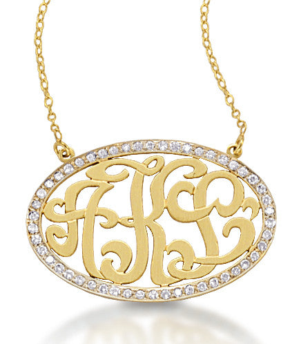 Diamond Oval Monogram Necklace