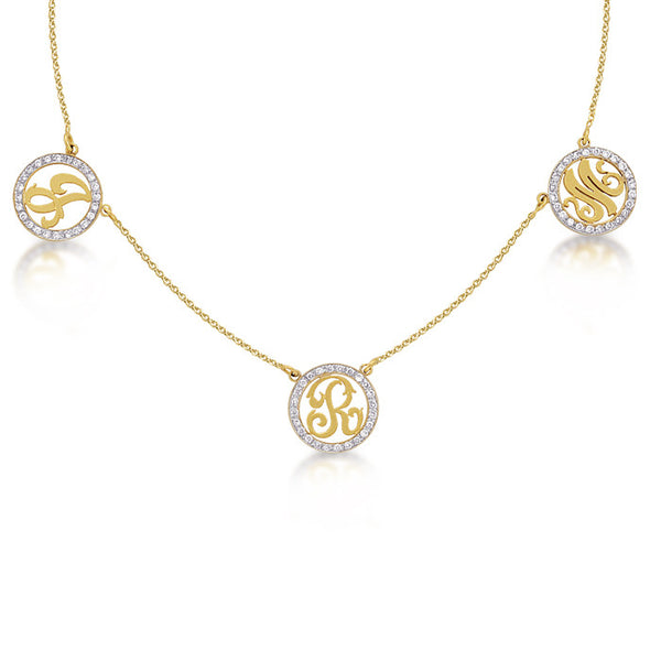 Diamond 3 Initial Cutout Necklace, Small
