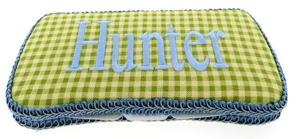 Personalized Baby Wipe Case, Green Gingham (Travel Size)
