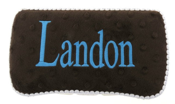 Personalized Baby Wipe Case, Chocolate Minky (Travel Size)