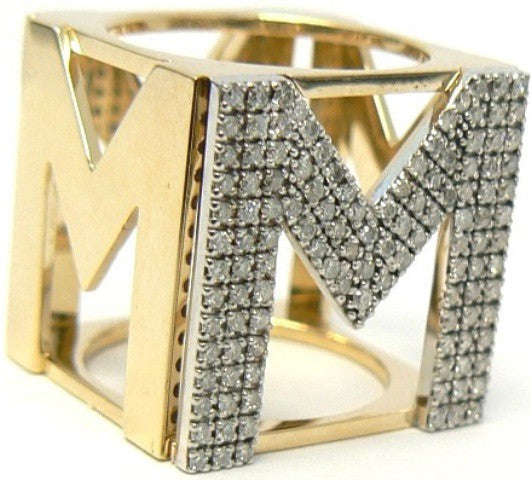 "Diamond & Yellow Gold ""Monoglam"" Ring"