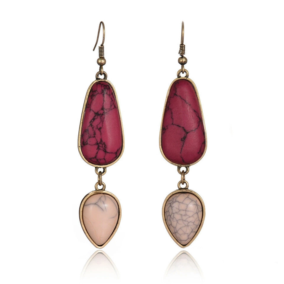 Baublebeads Faux Marble Red Teardrop Earrings
