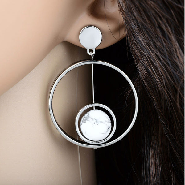 Baublebeads Double Round Marble Stone Stud Earrings