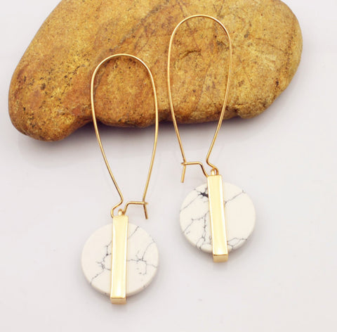 Baublebeads White Marble Drop Earrings