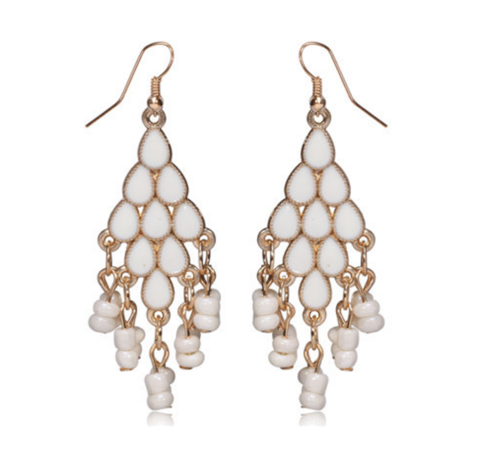 Pristine White Fusion Chandelier Drop Earrings