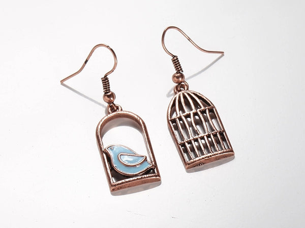 Mismatched Bird & Birdcage Earrings