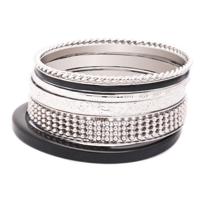 Silver Braid and Engraved Bangle Set