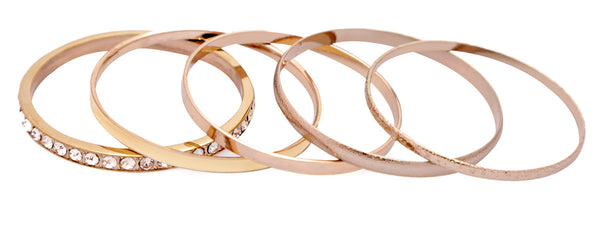 Textured Rose Gold and Eternity Bangle Set