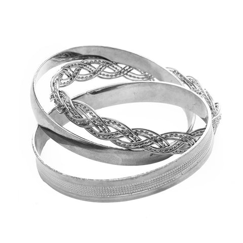 Silver Textured and Plaited Bangle Set