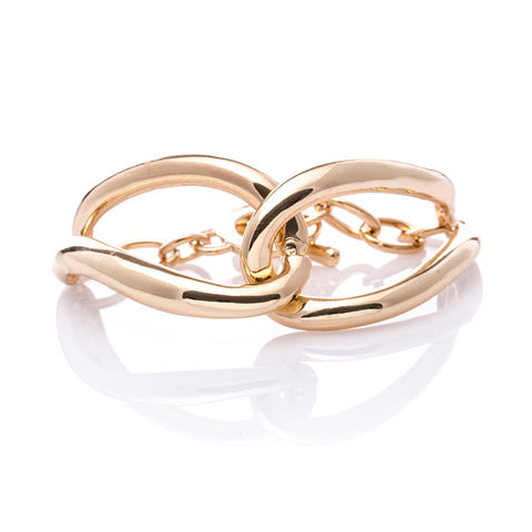 Double Oval Chain Link Gold Bracelet