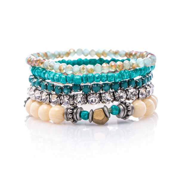 Elle Layered bead bracelet set