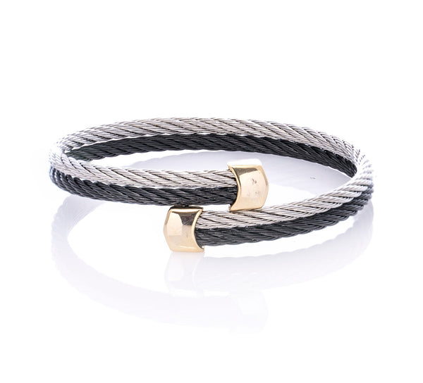 Two Tone Twin Horsehair Stainless Steel Bracelet