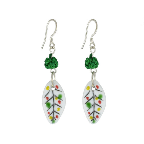 Holly Leaf Ceramic Drop Earrings