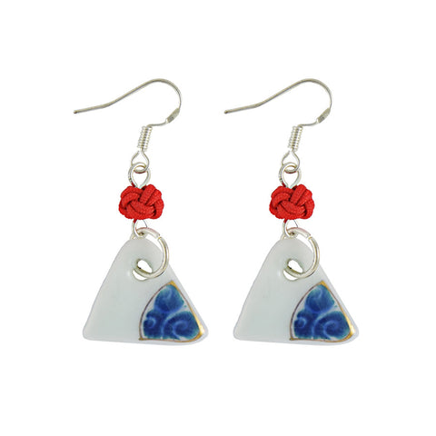 Blue Floral Spiral Ceramic Drop Earrings