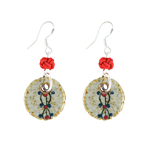 Infinity Medallion Ceramic Drop Earrings