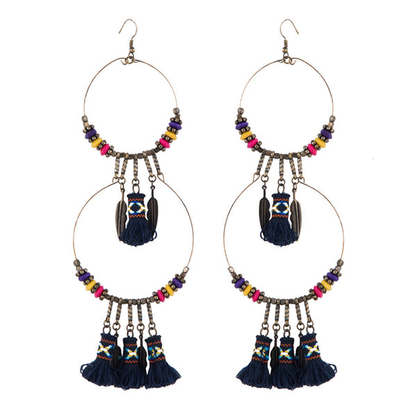 Black Dreamcatcher Statement Drop Earrings