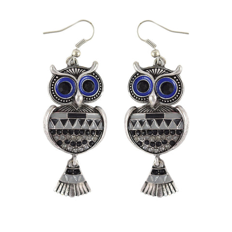 Blue Eyed Owl Charm Drop Earrings