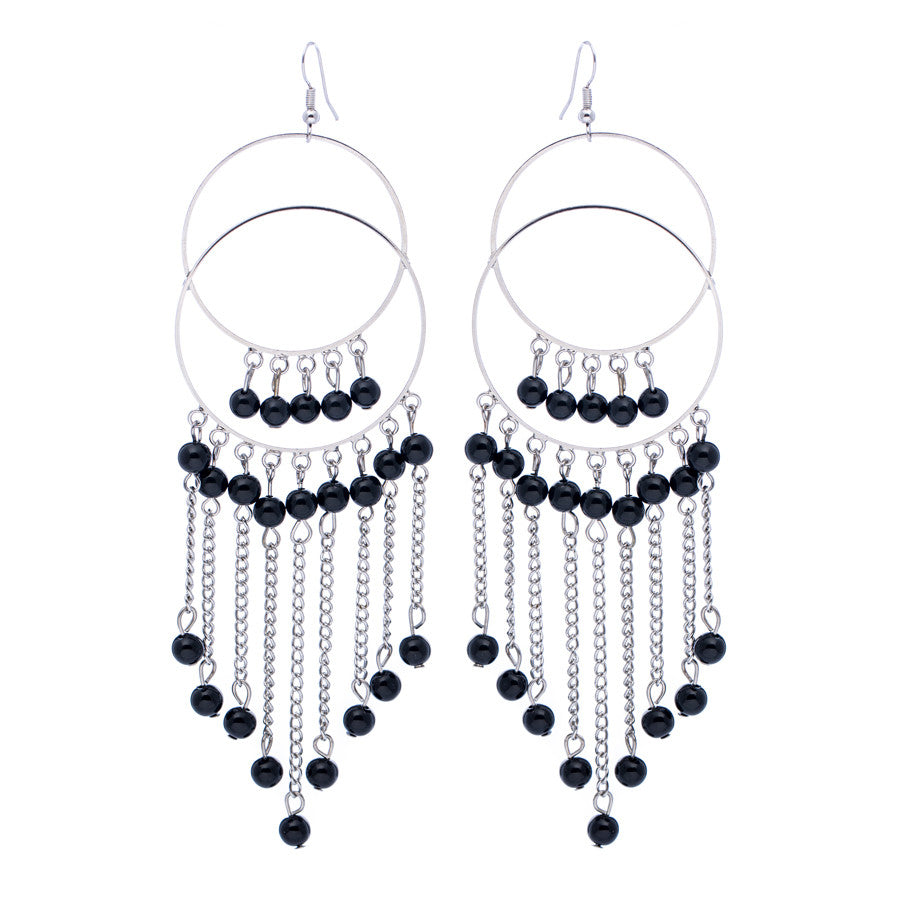 Leanne Silver Black Bead Tassel Drop Earrings