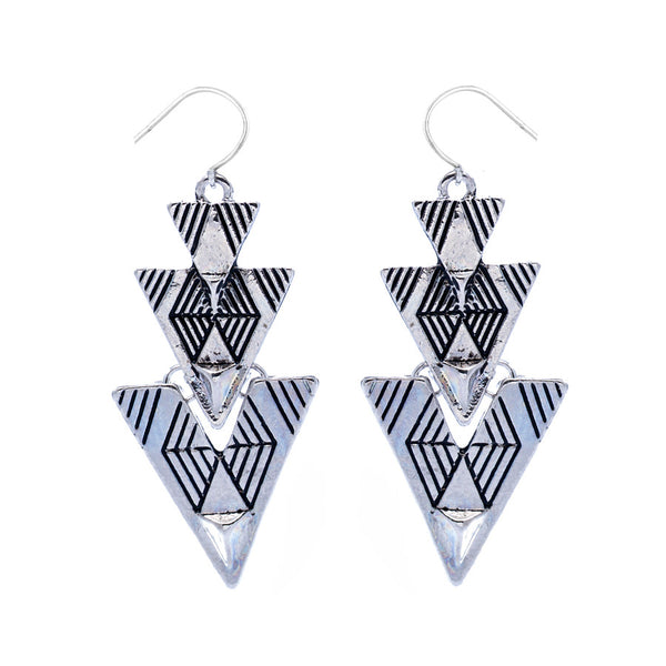 Trixie Aztec Silver Drop Earrings