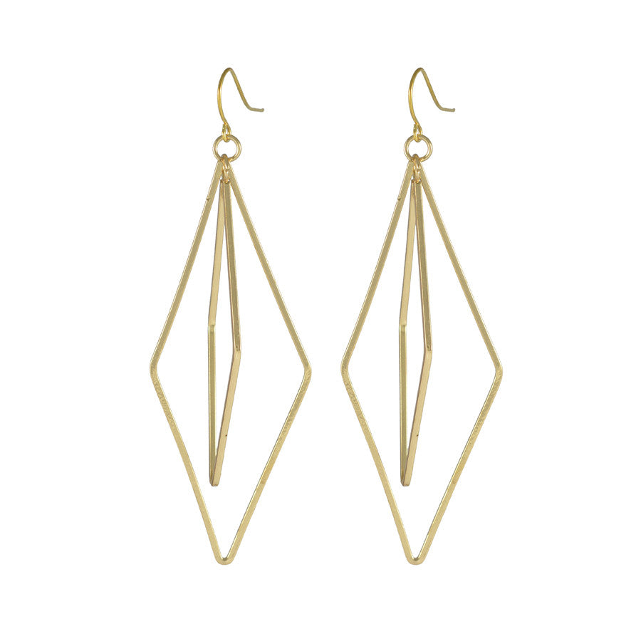 Ariane Double Diamond Drop Earrings