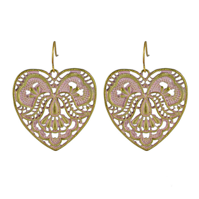 Lauren Pink Heart Drop Earrings