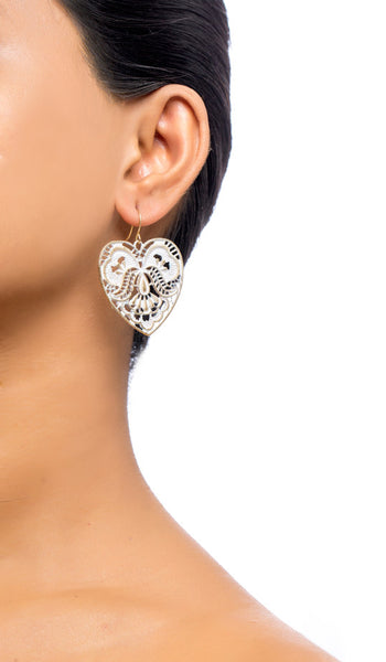 Lauren White Heart Drop Earrings