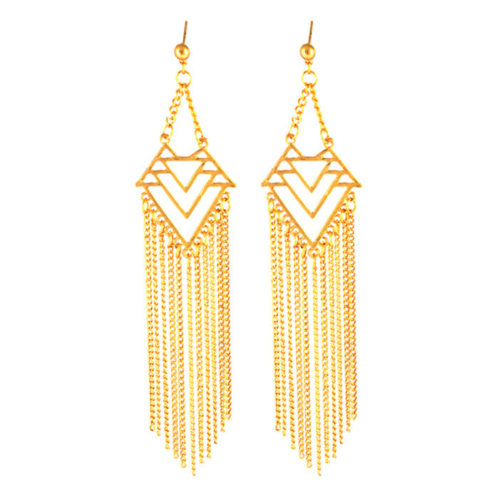 Callie Aztec Statement Tassel Drop Earrings