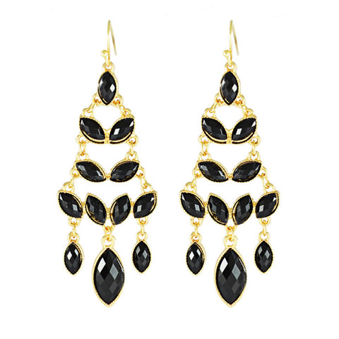 Reese Pyramid Tower Black Drop Earrings