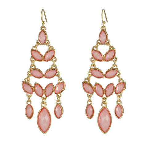 Reese Pyramid Tower Pink Drop Earrings