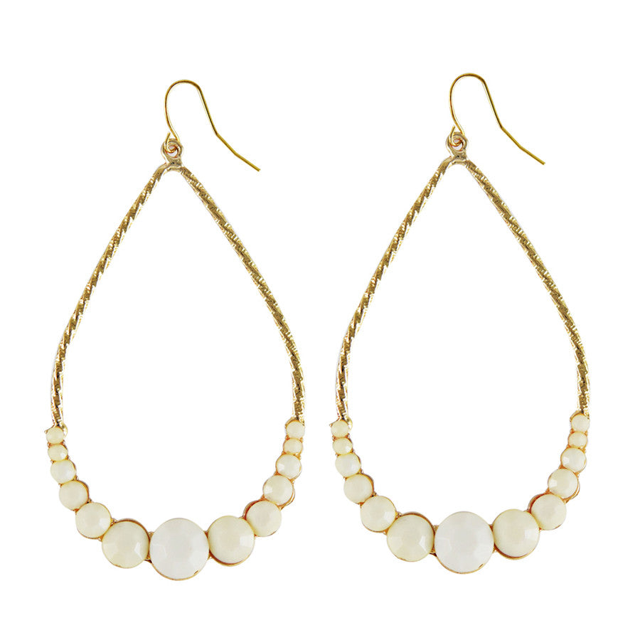 Piper Off White Statement Tear Drop Earrings