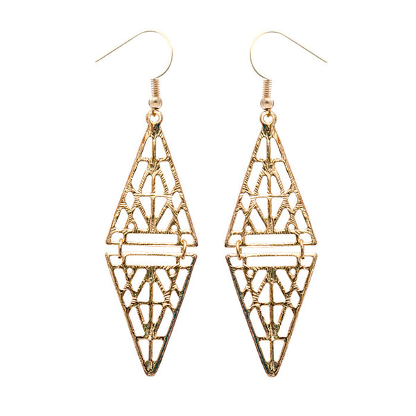 Zola Warrior Shield Gold Drop Earrings