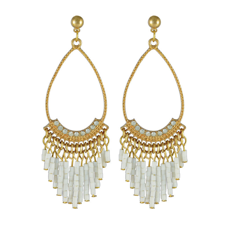 Patti Tear Drop Bead Tassel Drop Earrings