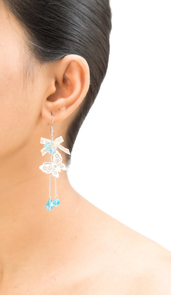 White Butterfly Drop Earrings