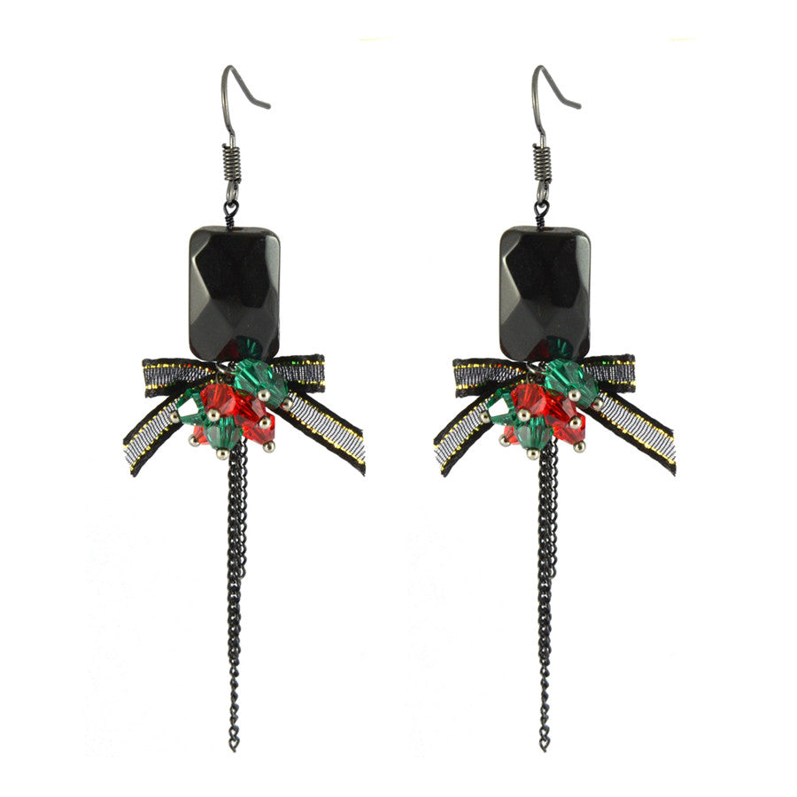 Halle Black Rhinestone Drop Earrings