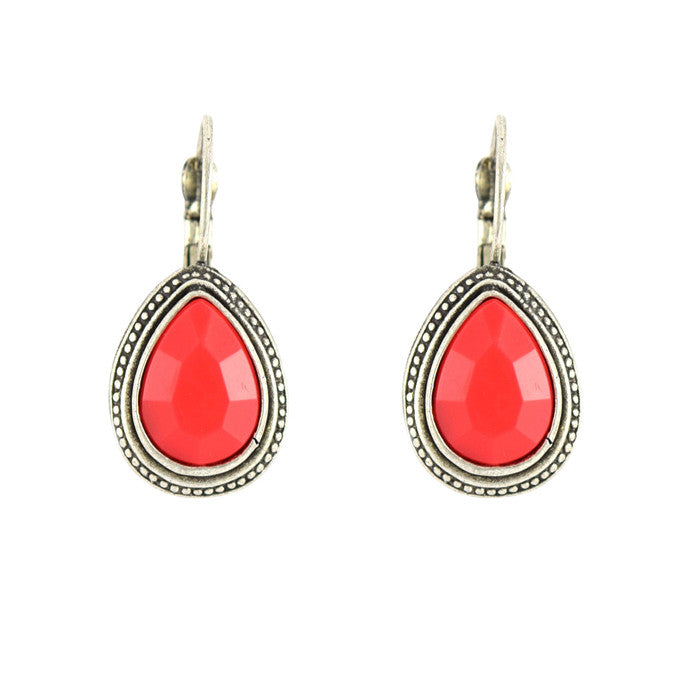Cheri Red Classic Tear Drop Earrings