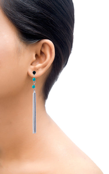 Jade Acquamarine Tassel Drop Earrings