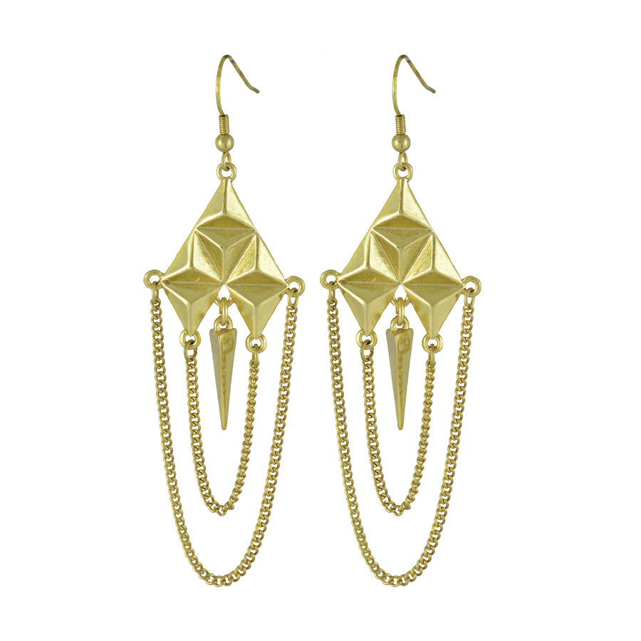 Gina Geometric Tassel Drop Earrings