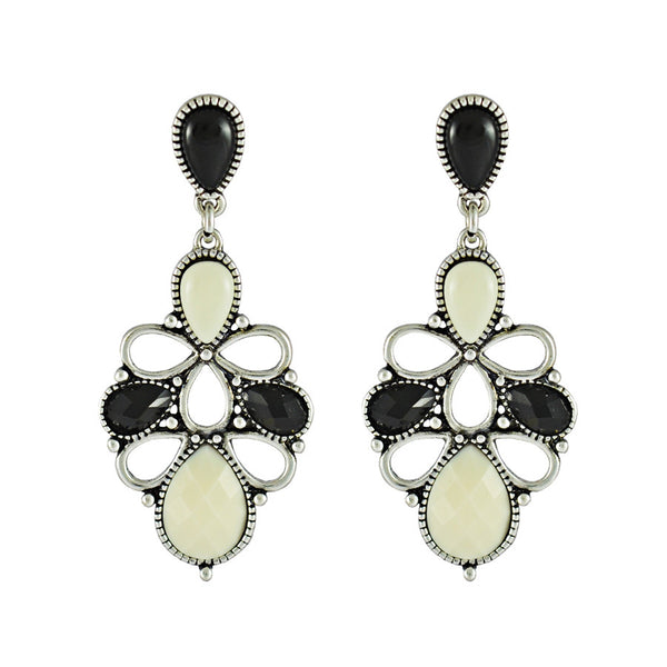 Piper Ebony and Ivory Floral Oval Drop Earrings