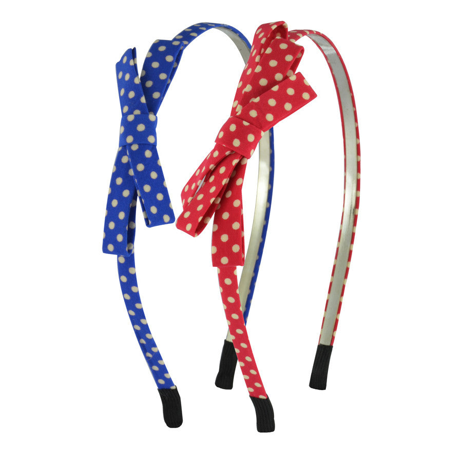 Polka Bow Hair Bands - Blue and Red
