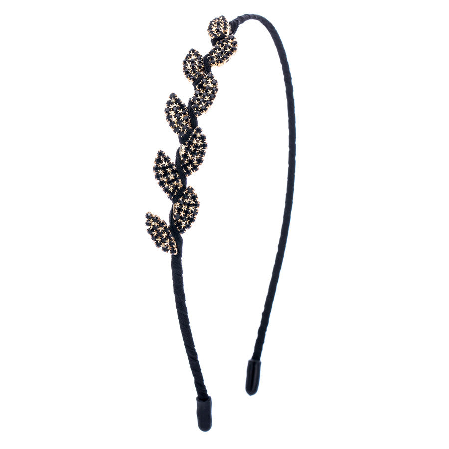 Gold Leaf Black Stone Hair Band