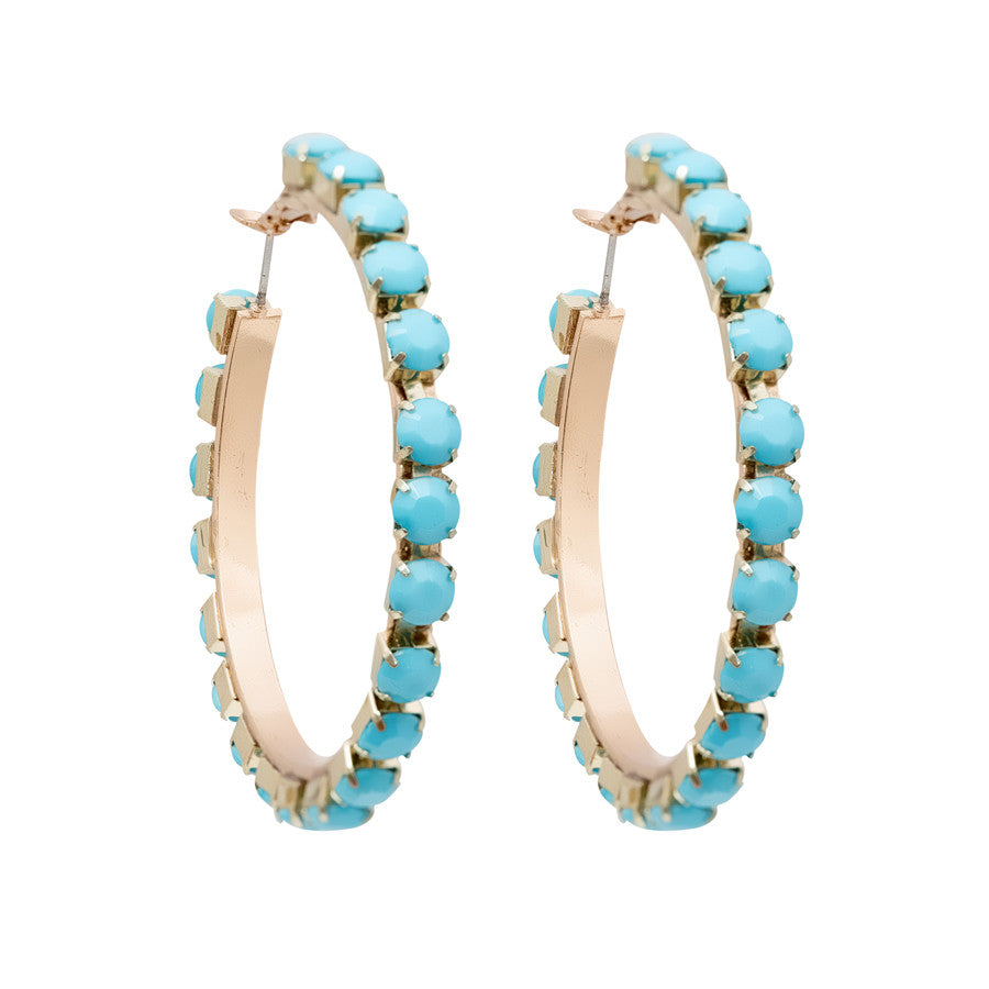 Jane Turquoise Hoop Earrings