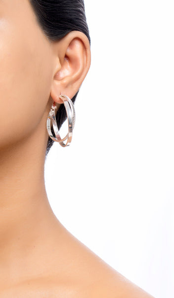 Two Layered Entwined Hoop Earrings